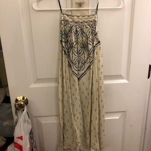 Cream patterned t-back dress